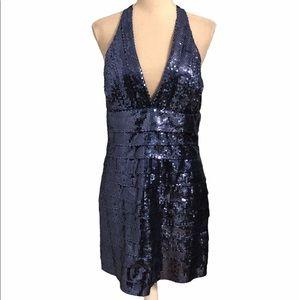 Forever 21 blue sequins halter v neck dress